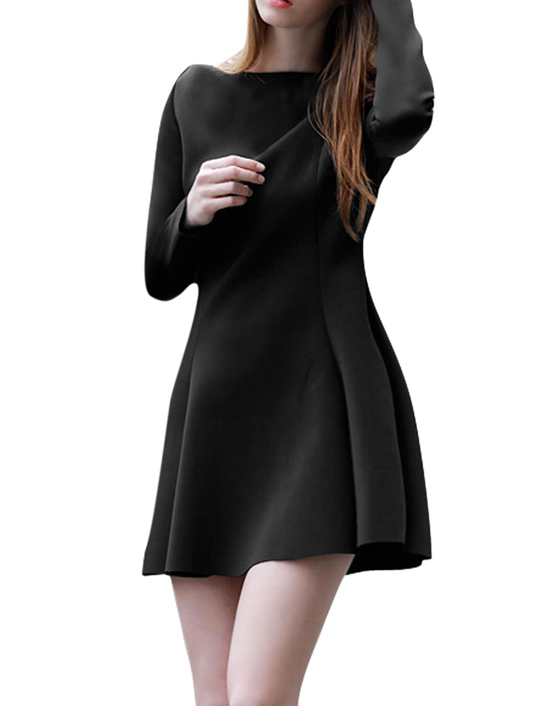 Women New Style Boat Neck Long Sleeves Pullover Slim Fit Dress Black M