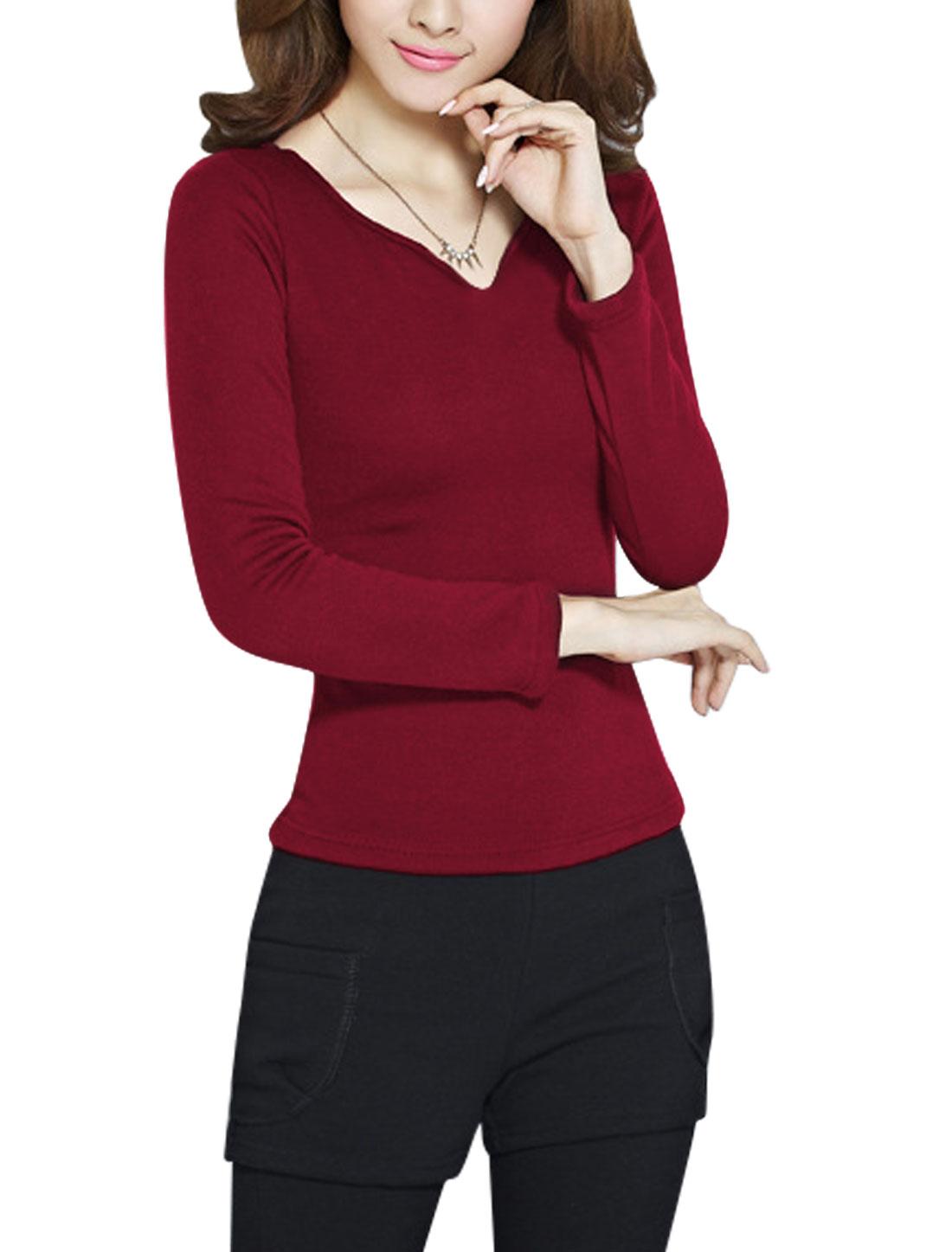 Ladies Burgundy Slipover Long Sleeves Plush Lined Slim Fit Leisure Top L