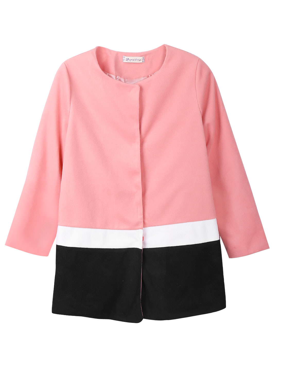 Women Round Neck Long Sleeves Contrast Color Casual Worsted Coat Pink Black XS