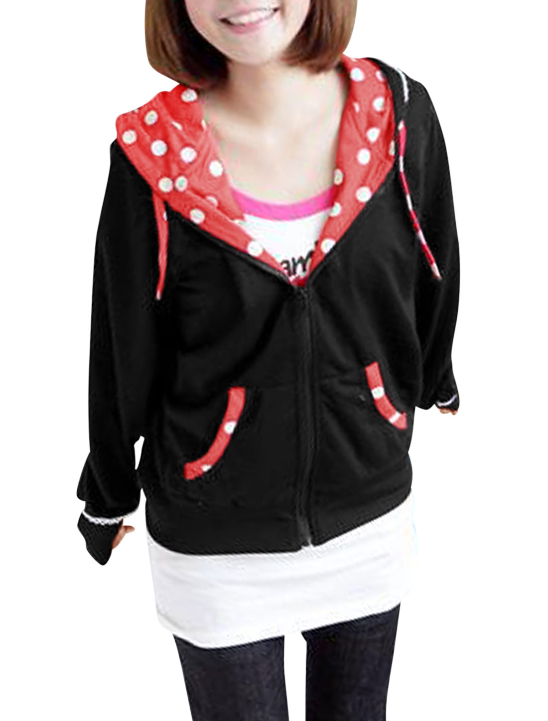 Women Hooded Two Front Pockets Color Blocking Leisure Jacket Black Red M