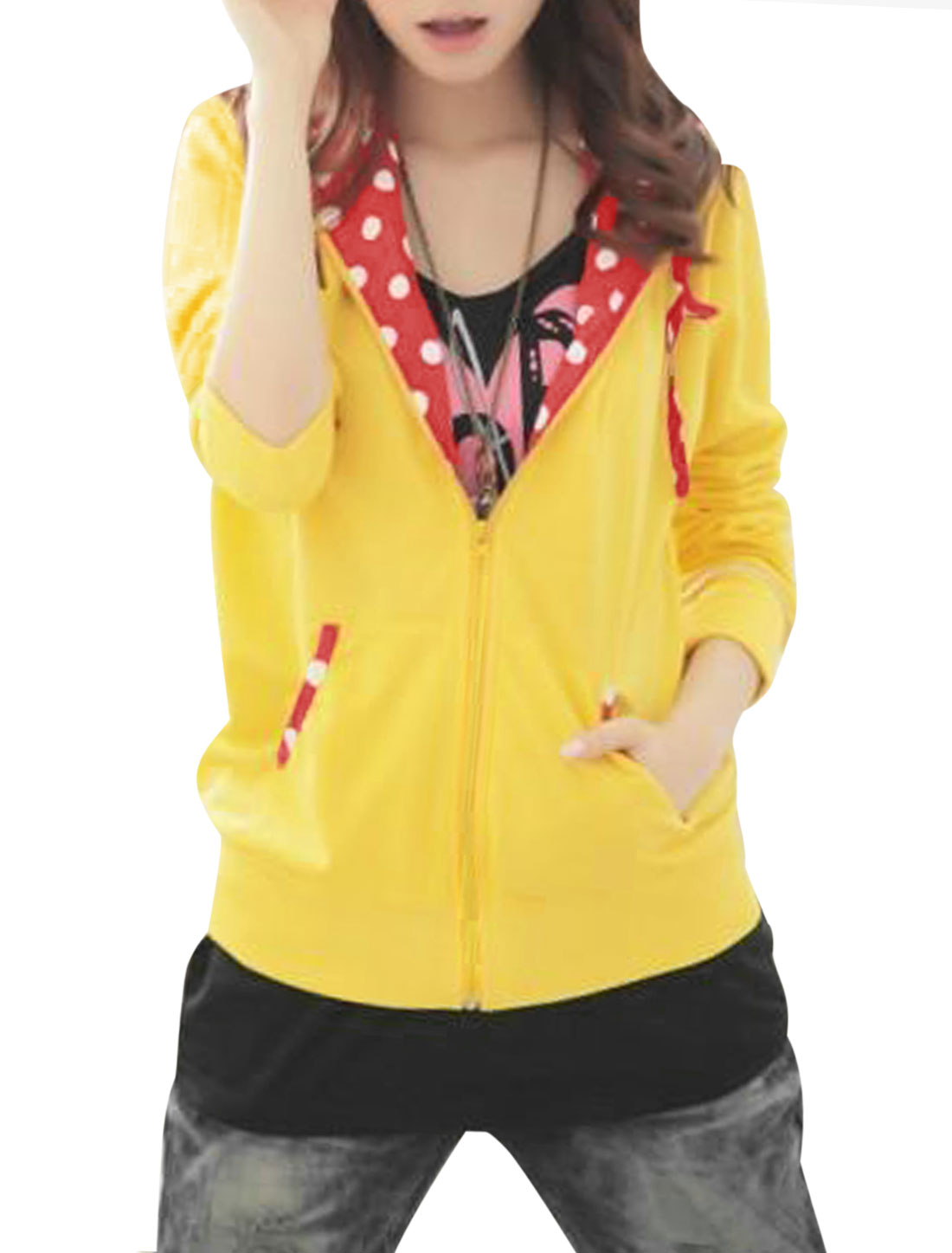 Women Hooded Zip Up Two Front Pockets Stylish Jacket Yellow Red S