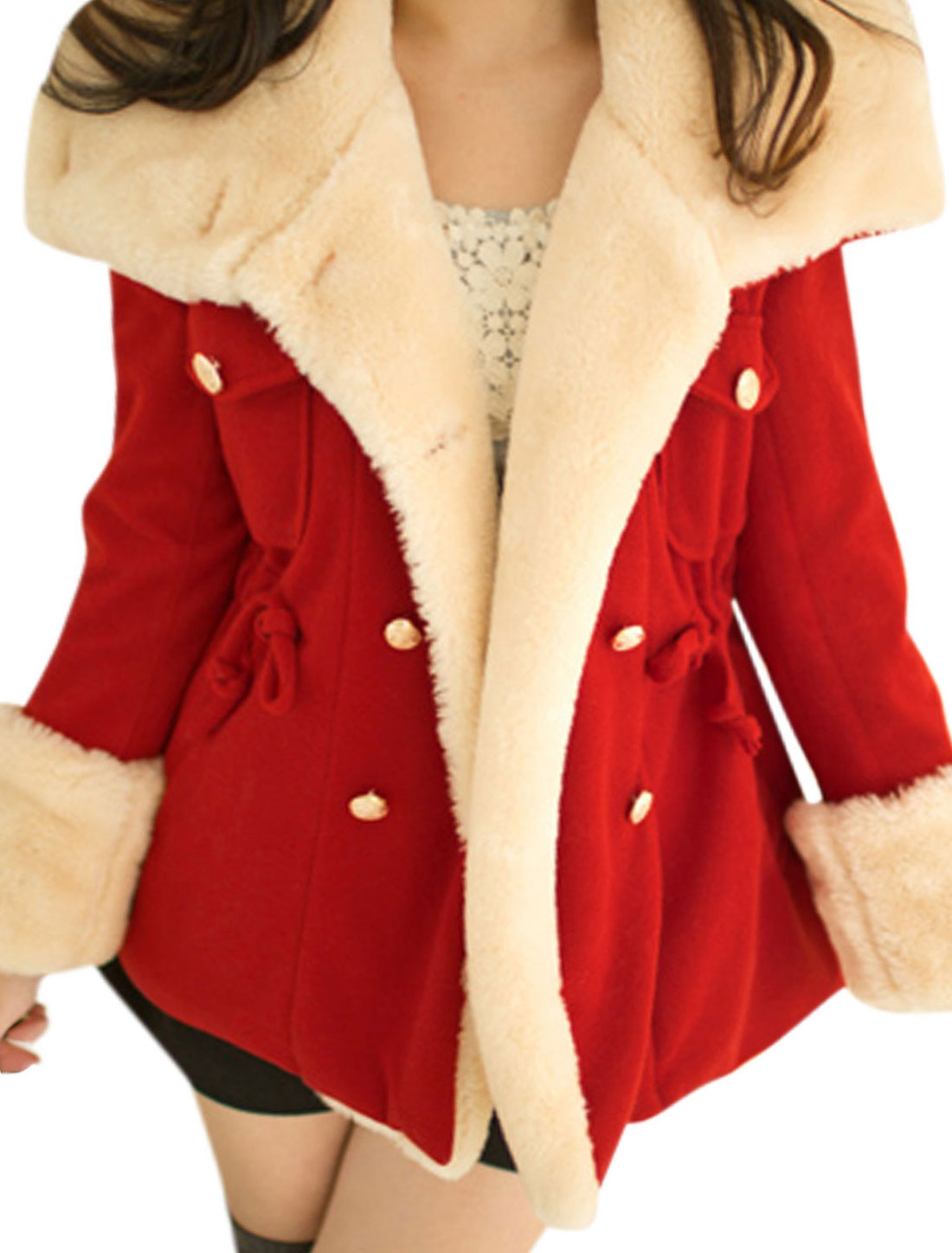 Ladies Red Double Breasted Drawstring Waist Bust Pockets Lining Coat M