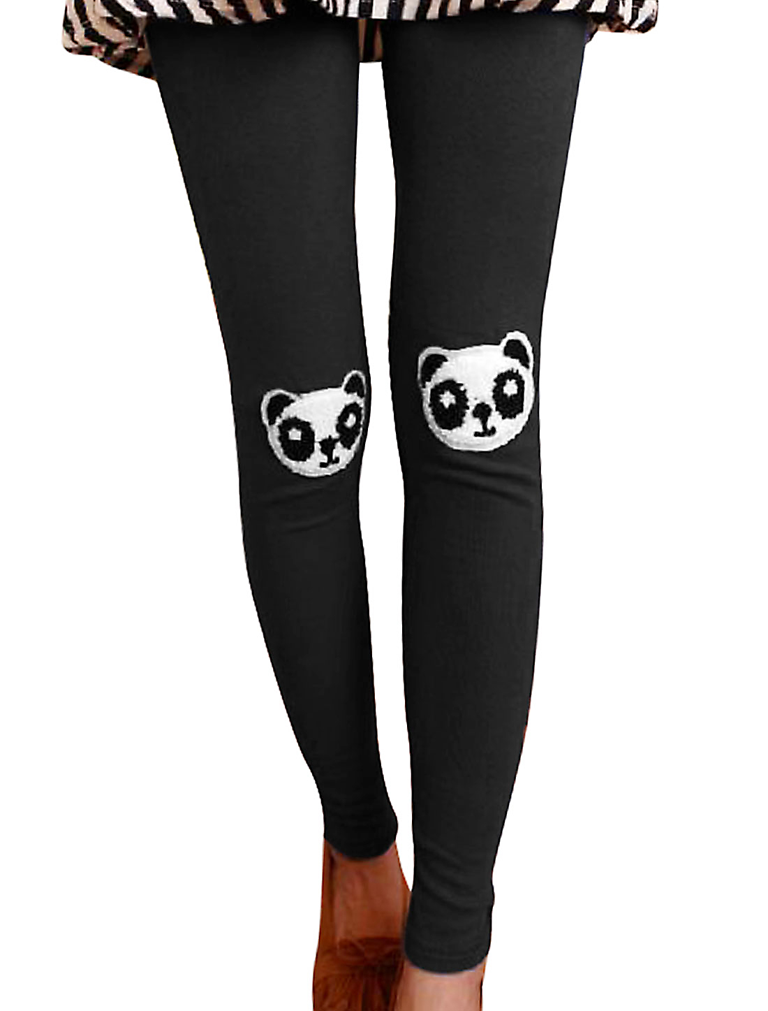Women Panda Applique Elastic Waist Slim Fit Leggings Black XS