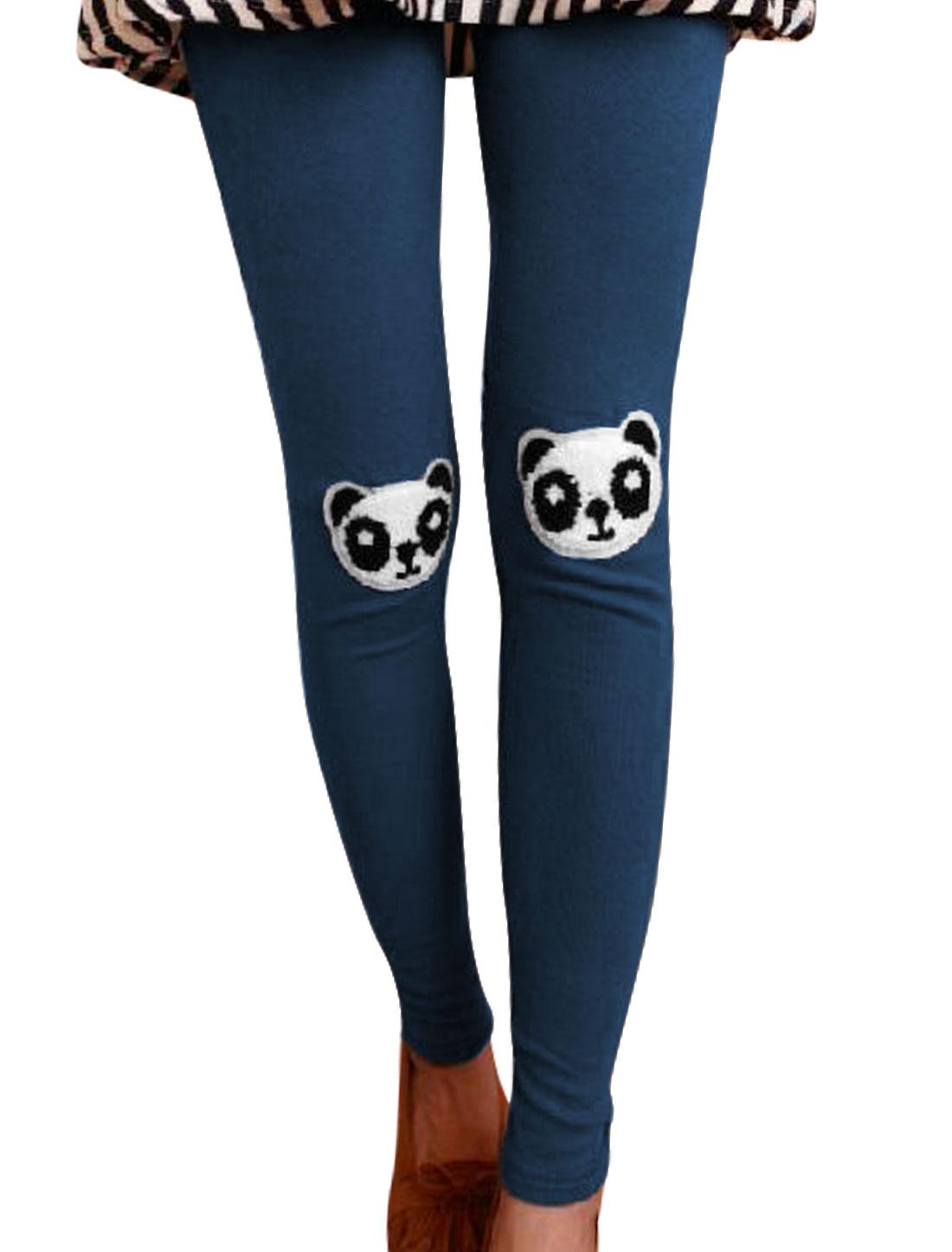Ladies Stretchy Panda Applique Stylish Navy Blue Leggings XS