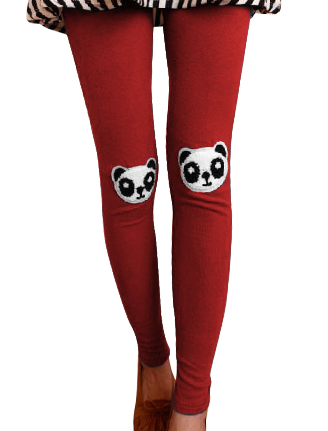 Lady New Style Panda Applique Slim Fit Warm Red Leggings XS