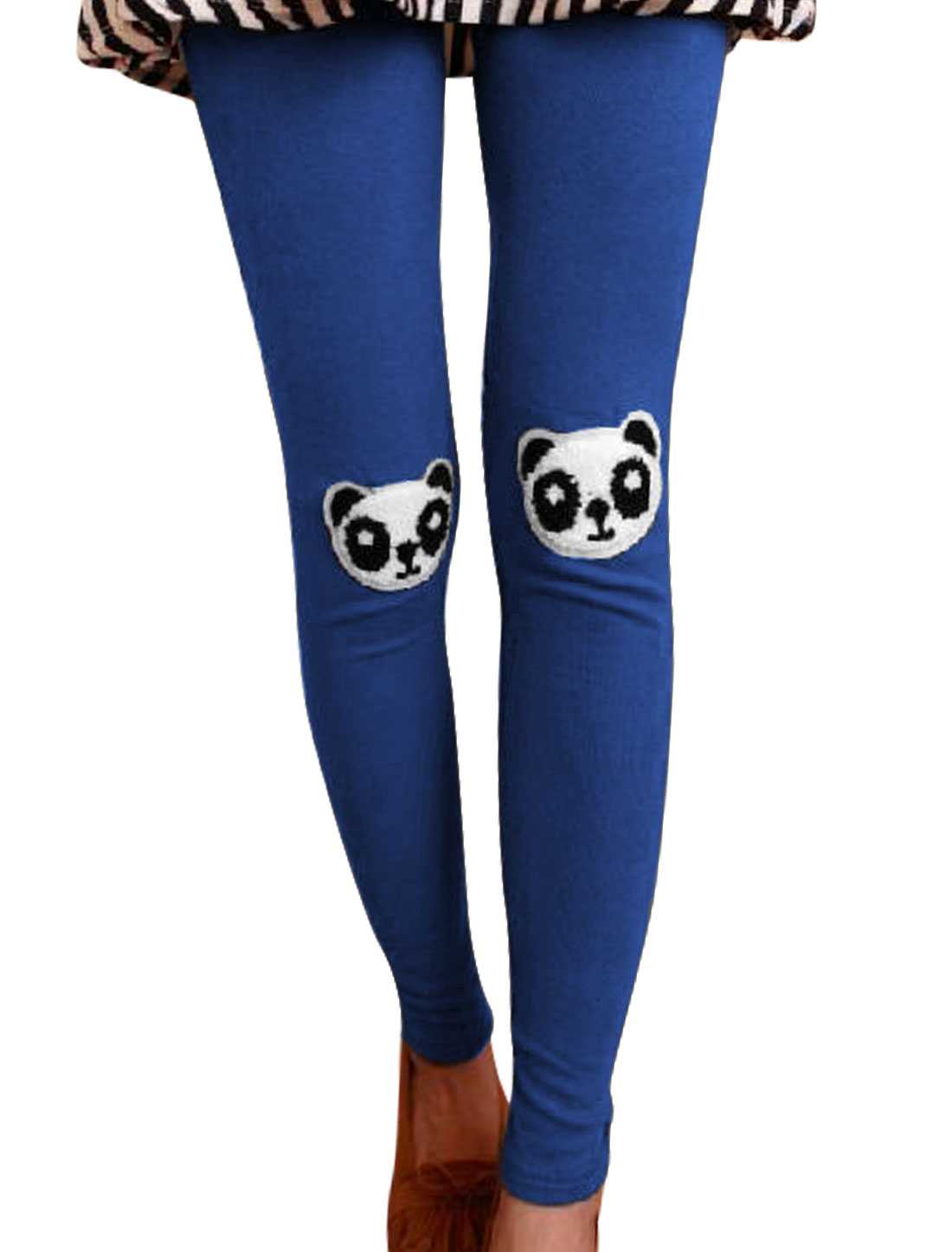 Sweet Panda Applique Stretchy Royal Blue Leggings for Women XS