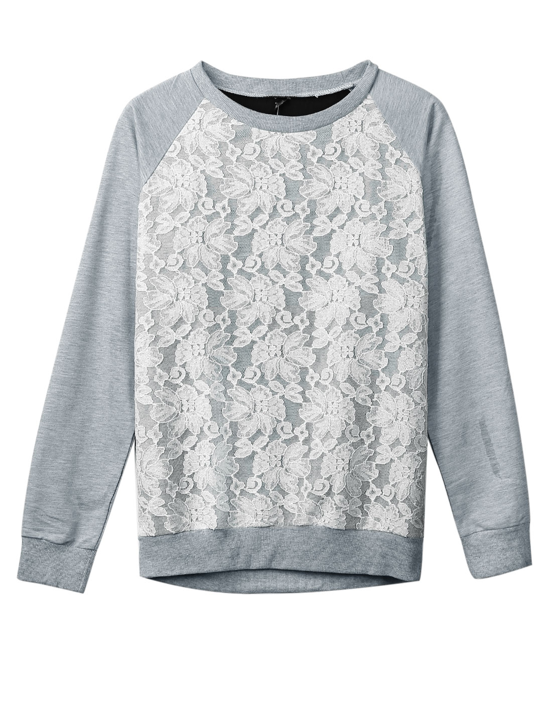 Women Round Neck Lace Panel Raglan Sleeves Top Light Gray Black