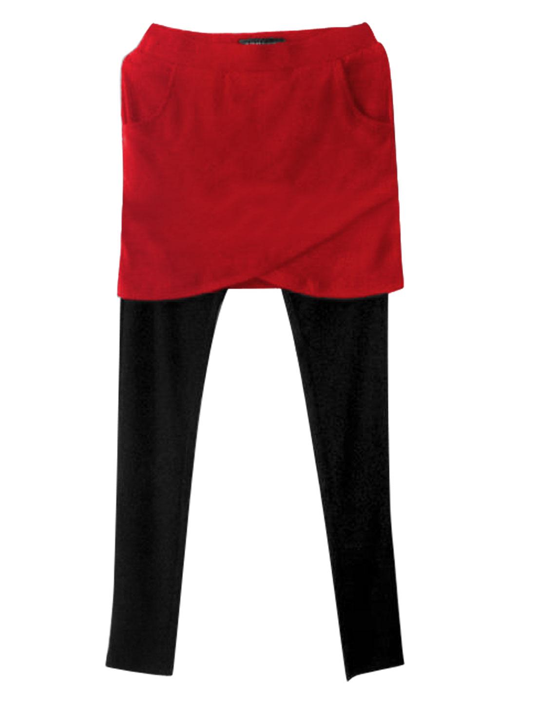 Women Crossover Design Stretchy Wasit Skinny Skirt Leggings Red Black XS