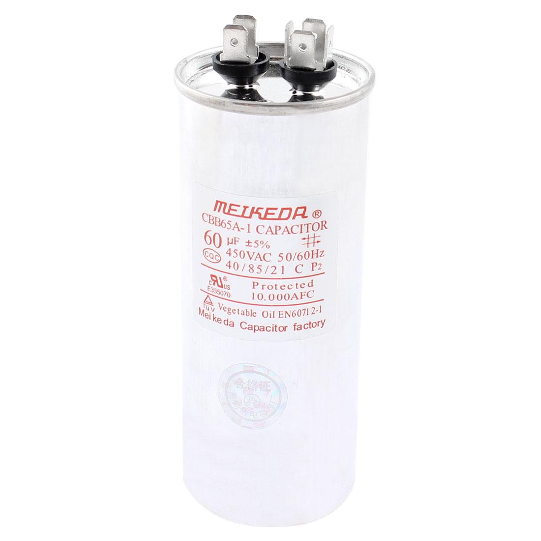 CBB65A-1 AC 450V 60uF Capacitance 5% 50/60Hz Polypropylene Film Motor Capacitor for Air Conditioner