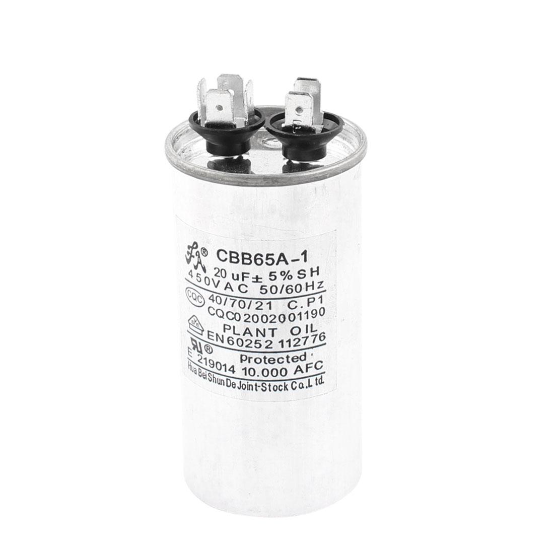 CBB65A-1 AC 450V 20uF Capacitance 5% 50/60Hz Non Polar Motor Capacitor for Air Conditioner