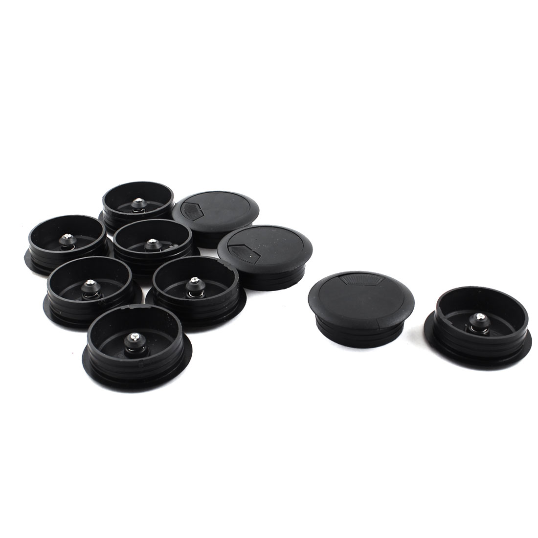 10Pcs 50mm Thread Black Round Plastic Computer Desk Tidy Computer Desk Cable Hole Cover 60mm