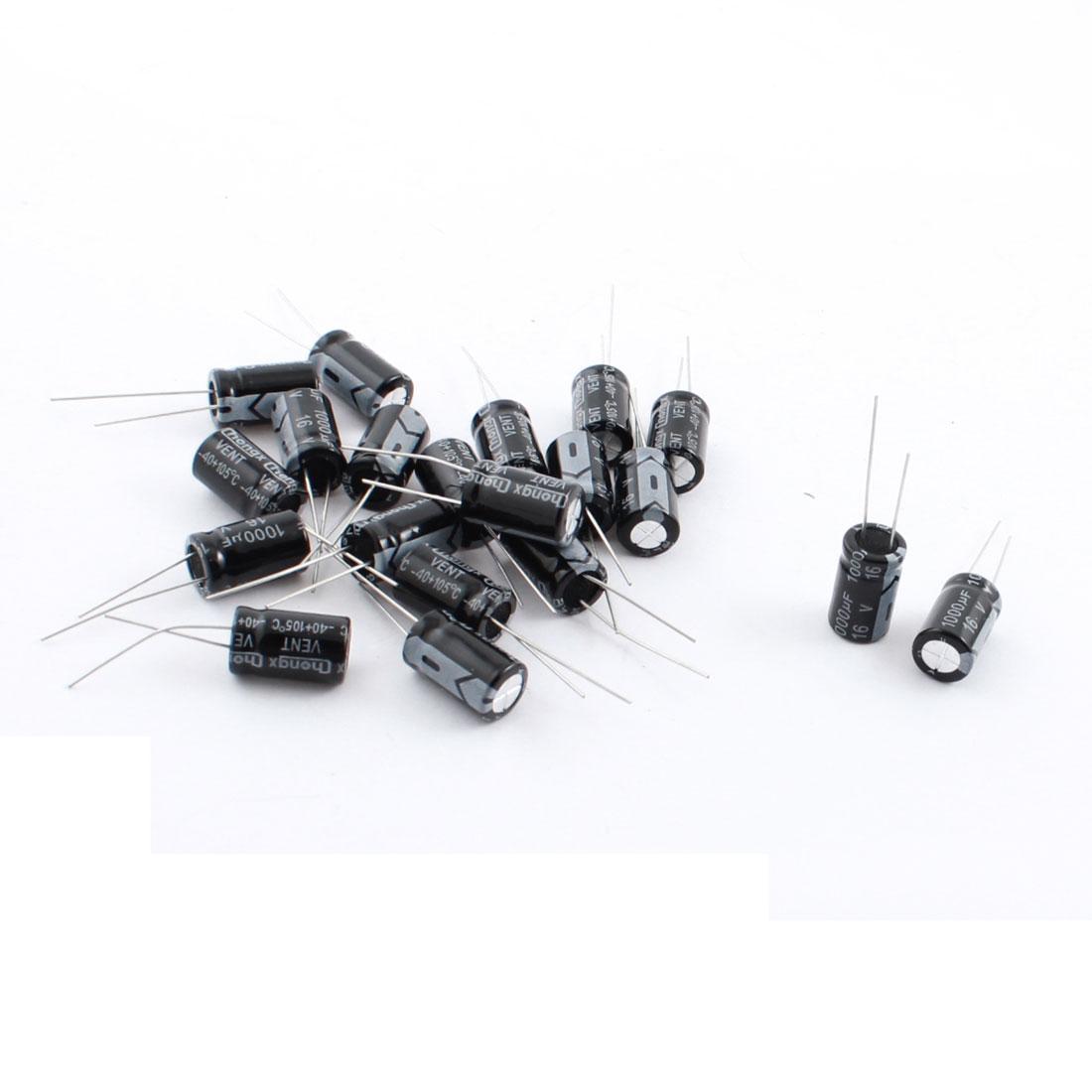 20pcs DC16V 1000UF Radial Cylindrical Aluminum Electrolytic Capacitor