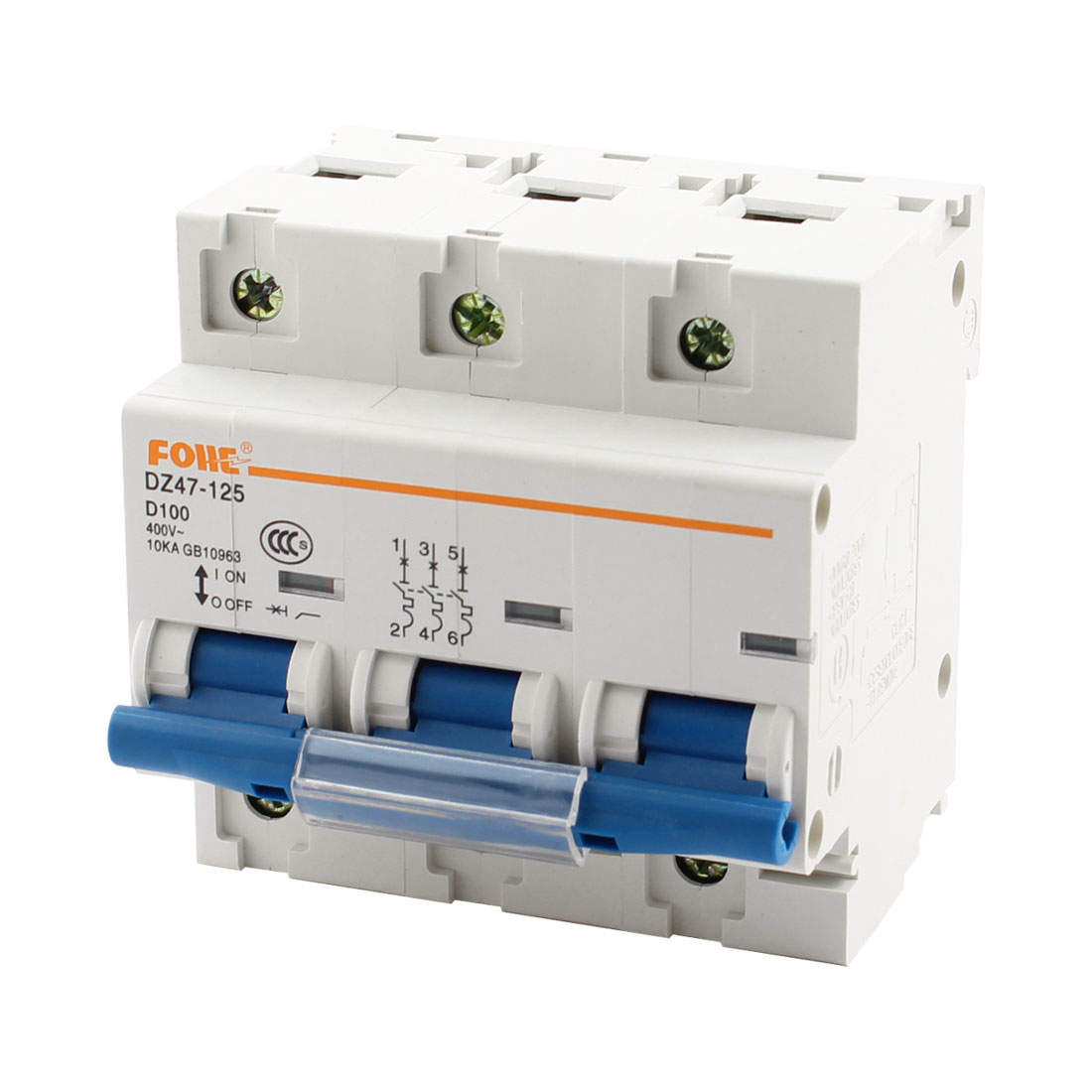 DZ47-125 35mm DIN Rail Mount 3-Pole 6 Screw Terminal MCB Mini Circuit Breaker Overload Protection AC400V 100A