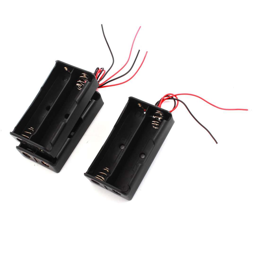 3Pcs 2 x 3.7V 18650 Battery Wire Leads Cover Sealed Switch Black Plastic Spring Clip Battery Holder