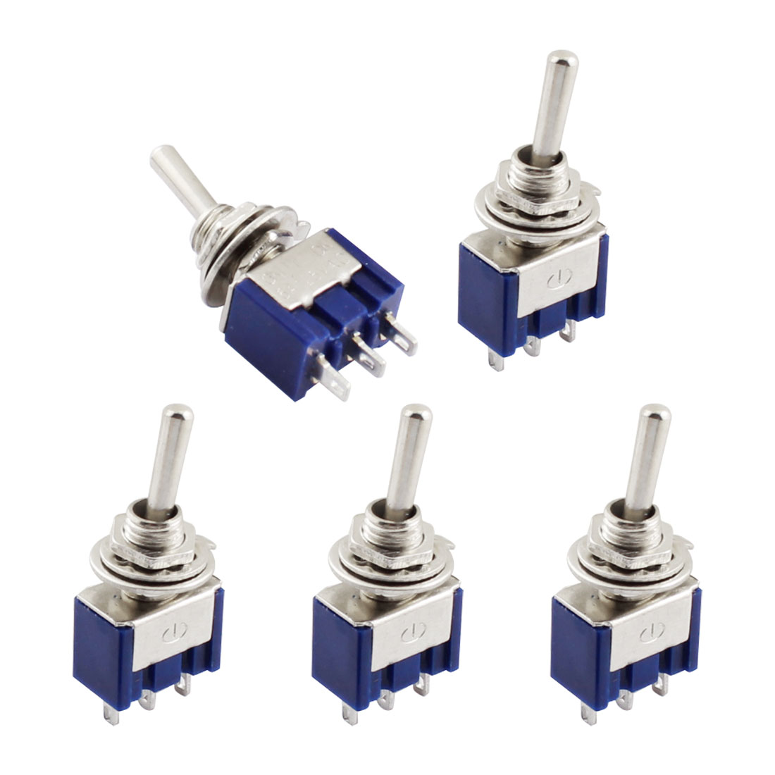 5Pcs Blue Tread Mounting 3 Terminals ON-OFF-ON Mini Toggle Switch 6A AC125V