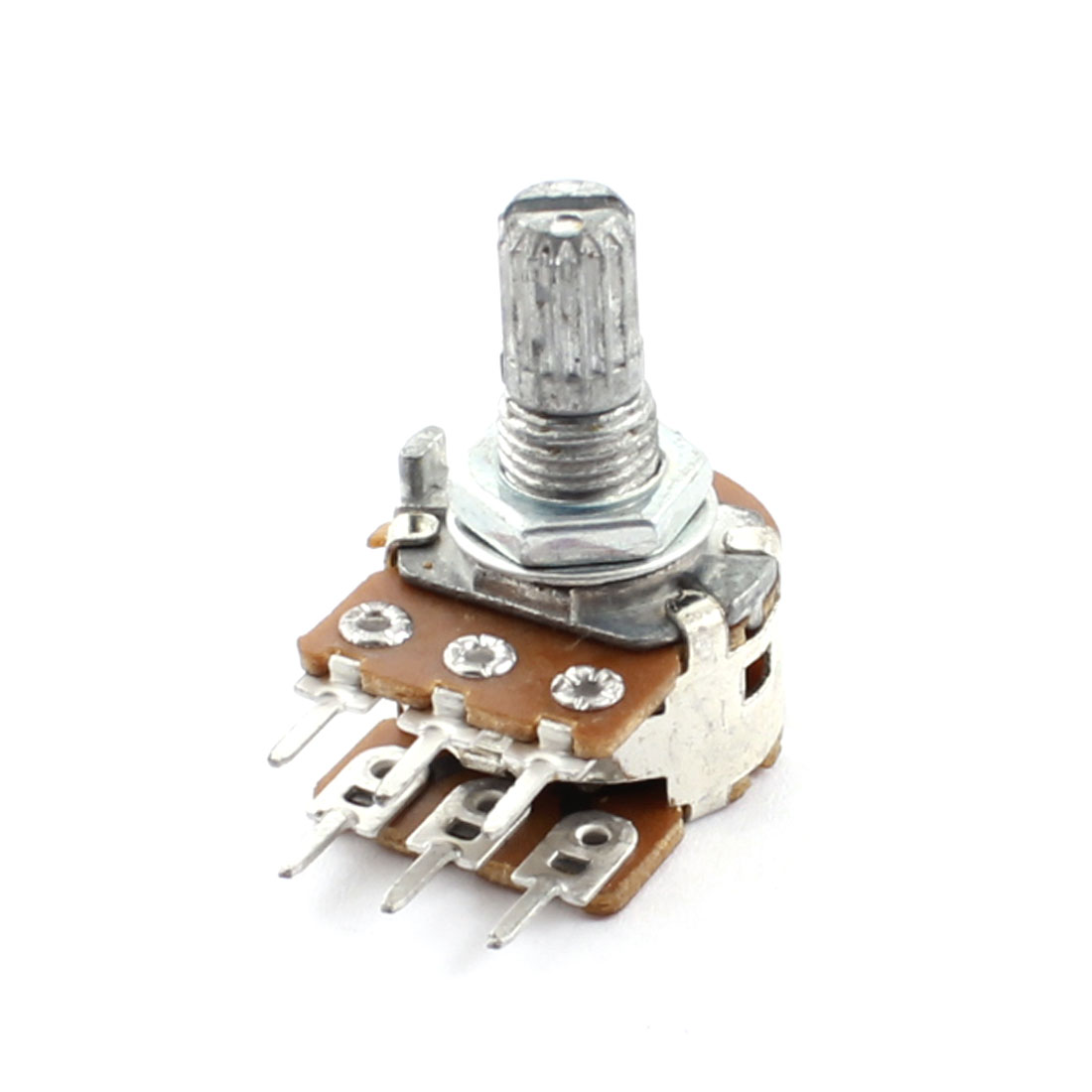 B503 50K Ohm 6mm Dia Knurled Shaft 7mm Thread 6-Pin Through Hole Top Adjustable Linear Type B Rotary Potentiometer