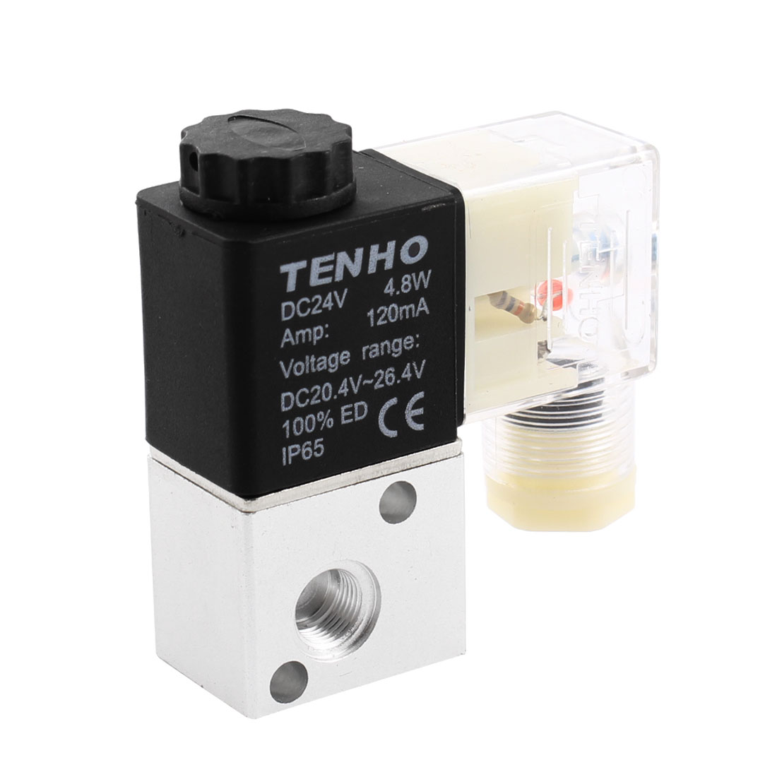 3V1-06 Direct Drive Type 9mm Thread 2 Way Waterproof Gas Air Pneumatic Control Solenoid Valve DC 24V 120mA