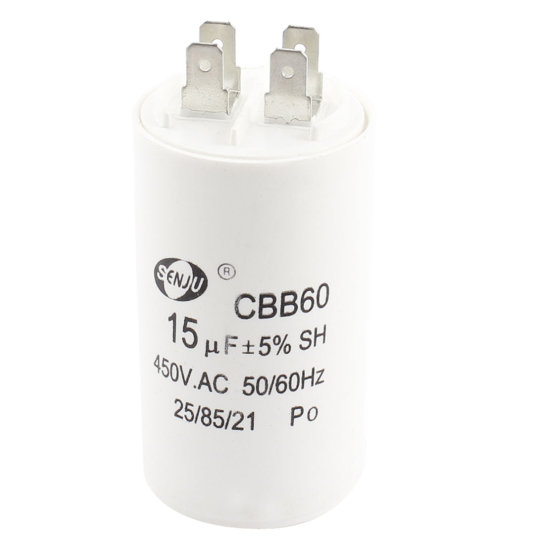 AC 450V 15uF 5% Tolerance 4-Pin Cylinder Shape White Polypropylene Film Air Conditioner Motor Run Capacitor