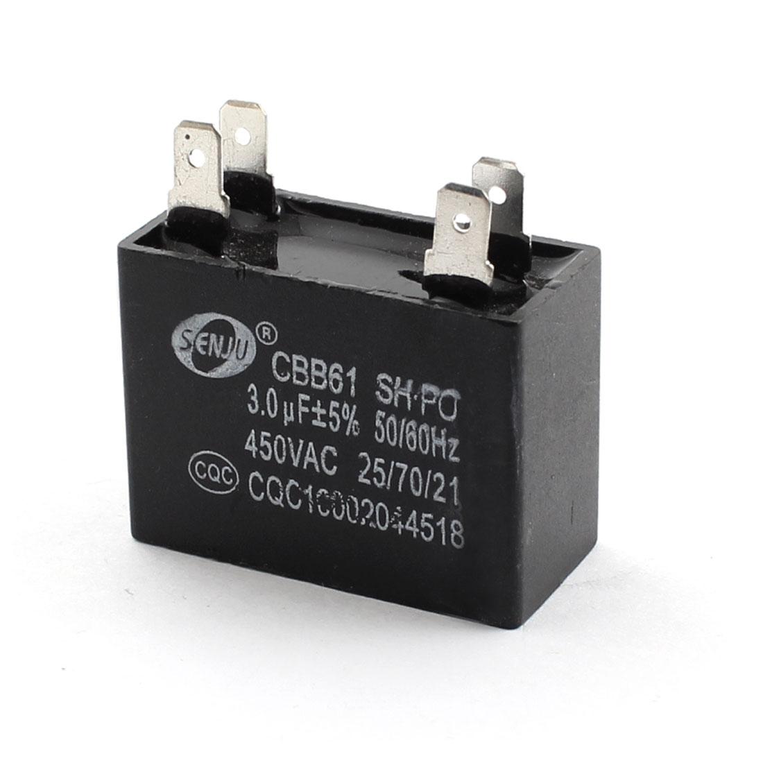 CBB61 AC 450V 3uF 5% Tolerance 4-Pin Black Polypropylene Film Air Conditioner Fan Motor Running Capacitor