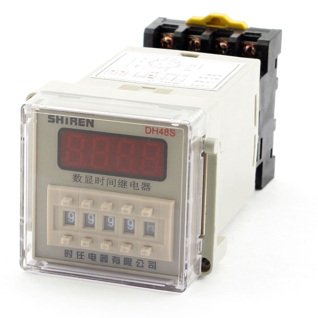 DH48S-11 DC/AC 110V Panel Mount DPDT 11Pin 0.01S-9999H Adjustable Time Delay Control Programmable Timer Relay w Plug in Base Socket