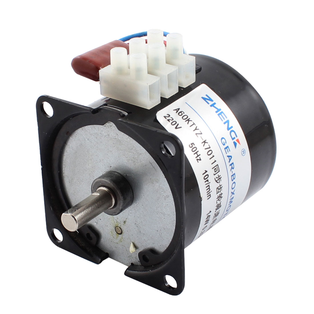 AC 220V 14W 10 R/MIN Rotary Speed Output 3 Position Terminal Block Connector Electrical Synchronous Reducer Geared Motor Replacement