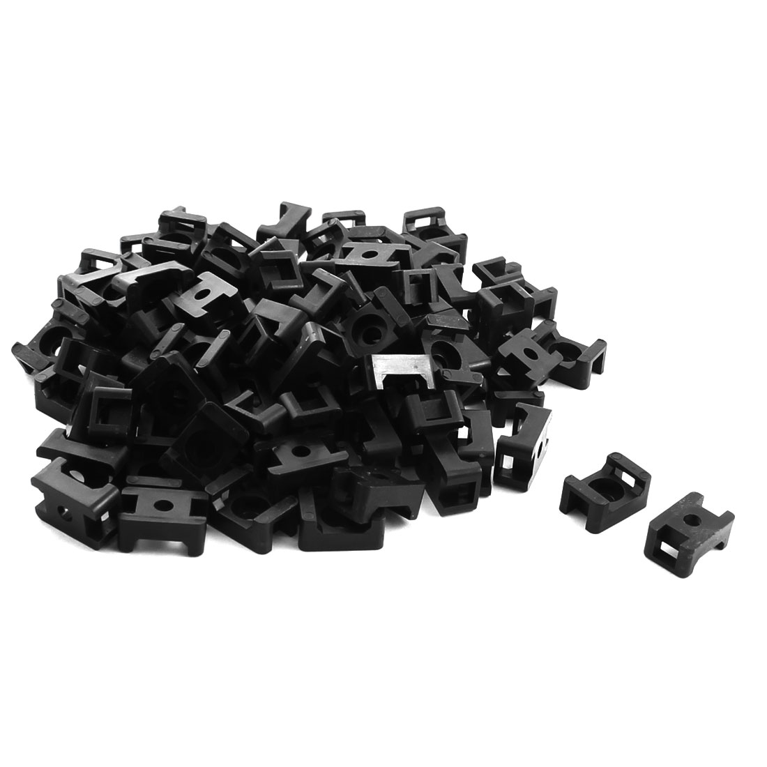 5mm Width Black Plastic Screw Fixing Cable Zip Tie Mount Saddle Base Holder 90Pcs