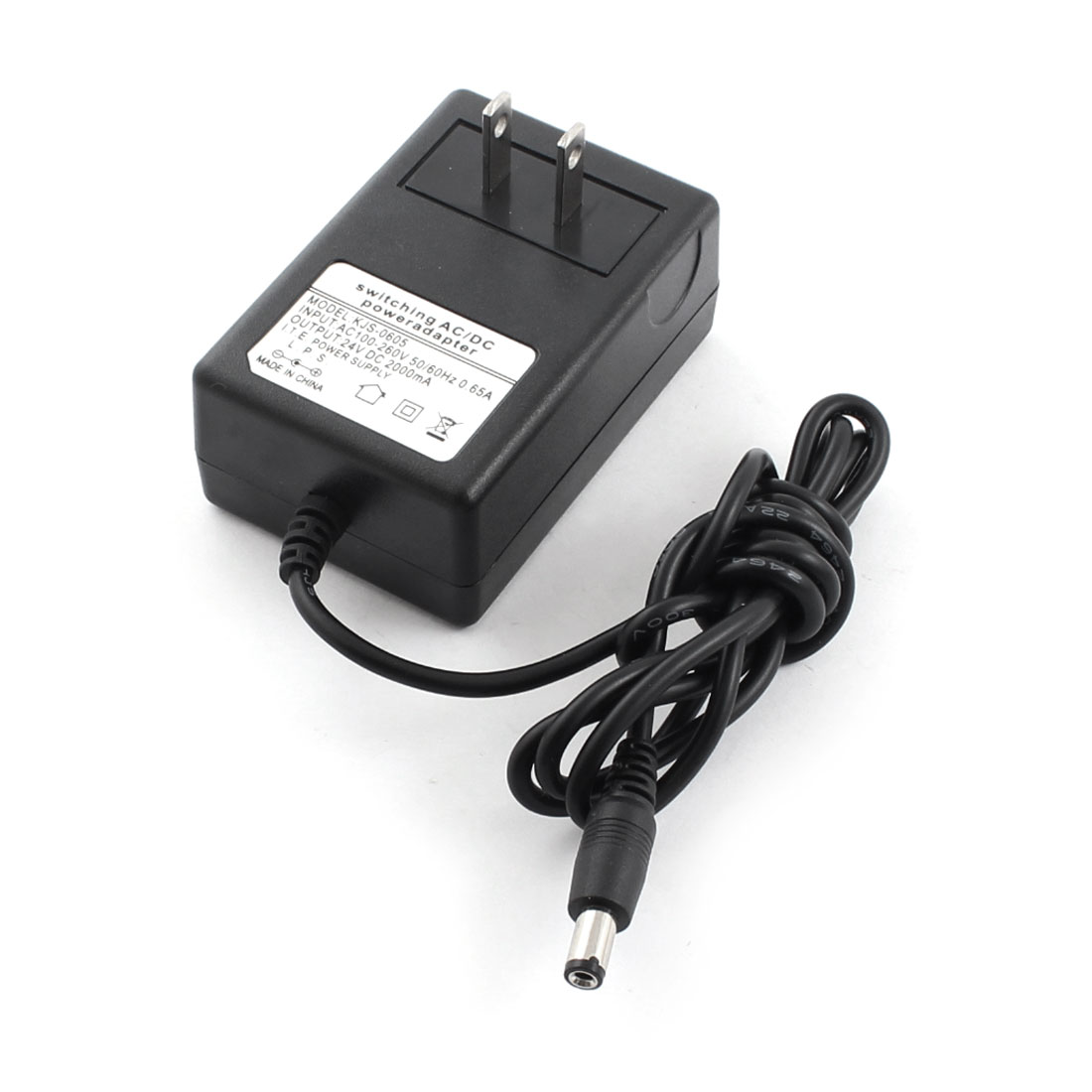 AC100-260V 0.65A US Plug to DC24V 2000mA 5.5mm x 2.1mm Power Adapter Extension Cable 4Ft