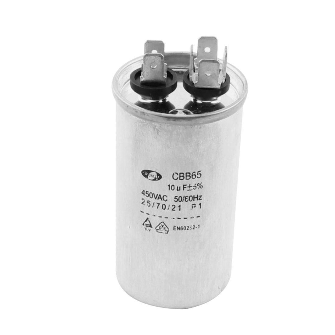 Silver Tone 6Pin Polypropylene Film Capacitor 10uF Tolerance 5% AC450V CBB65
