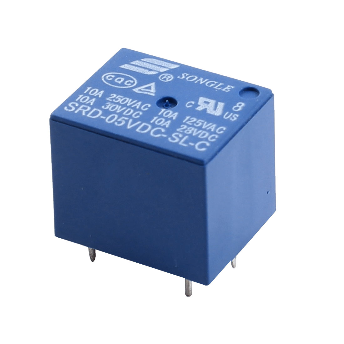 DC5V Coil SPDT 5Pin 1NO 1NC PCB Mounting Blue Plastic Housing General Purpose Power Relay