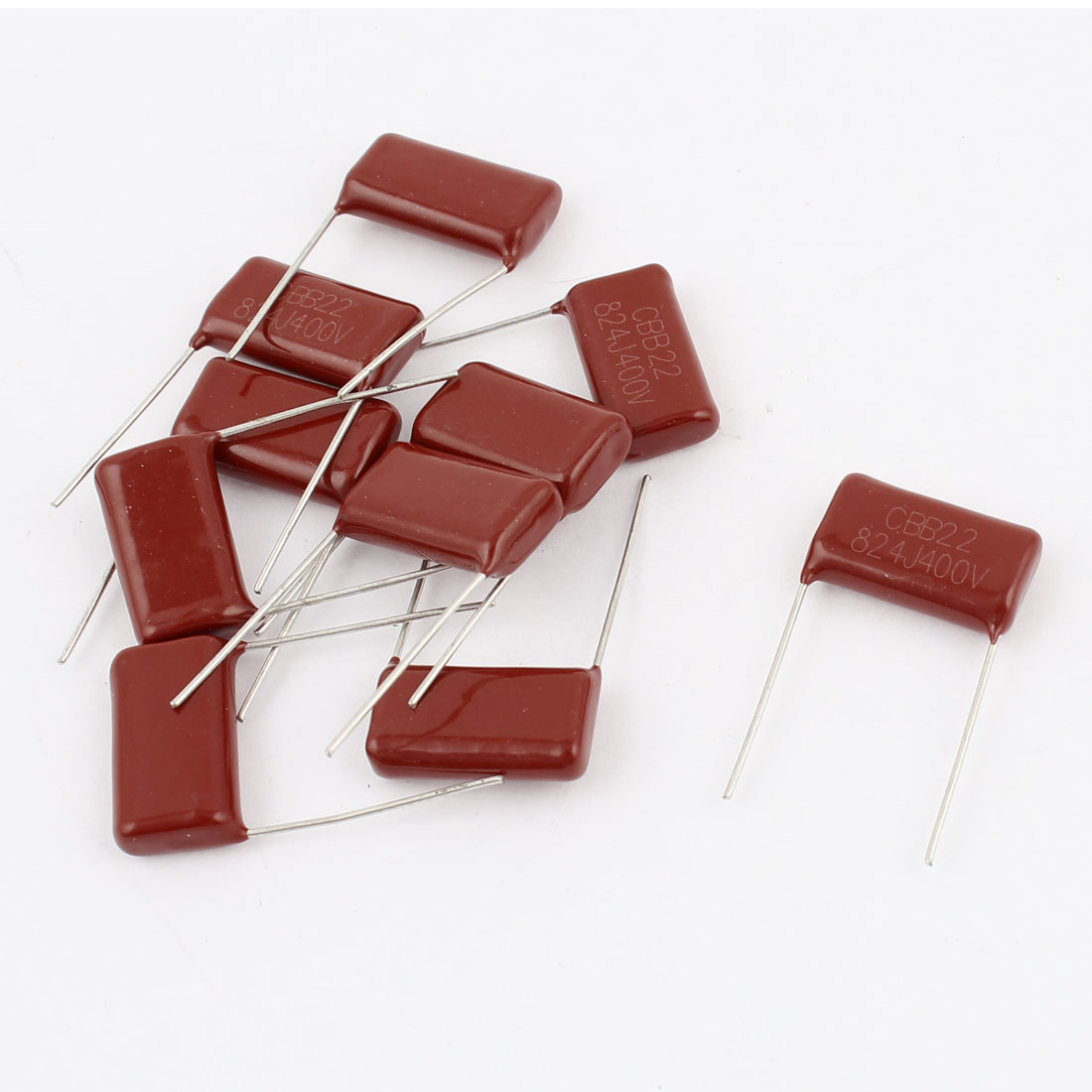 10pcs 824J 400V 0.82uF 820NF 20mm Pitch Metallized Polyester Film Capacitor