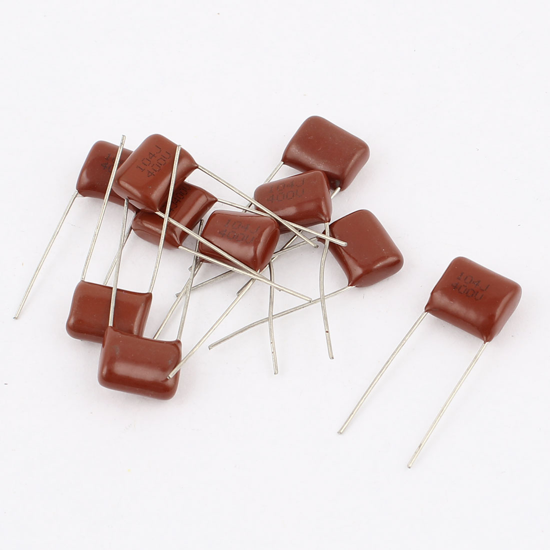 10pcs 104J 400V 0.1uF Radial Leads Metallized Polyester Film Capacitor