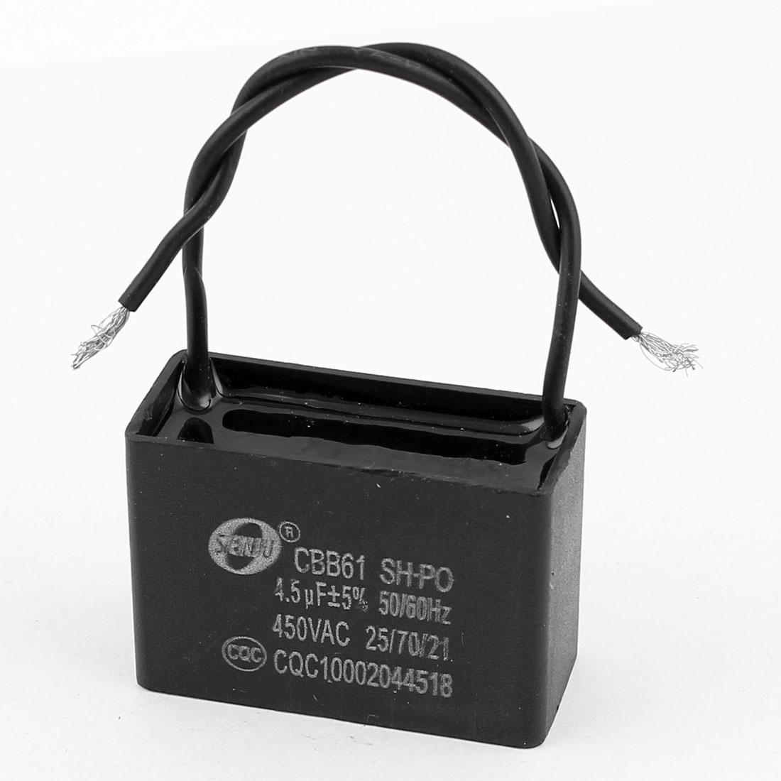 CBB61 AC 450V 4.5uF 5% Tolerance Square Polypropylene Film Capacitor
