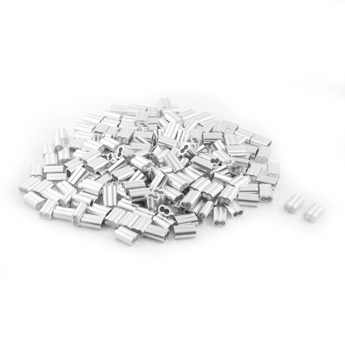 200Pcs Silver Tone Aluminum Ferrules Sleeves for 6mm Steel Wire Rope