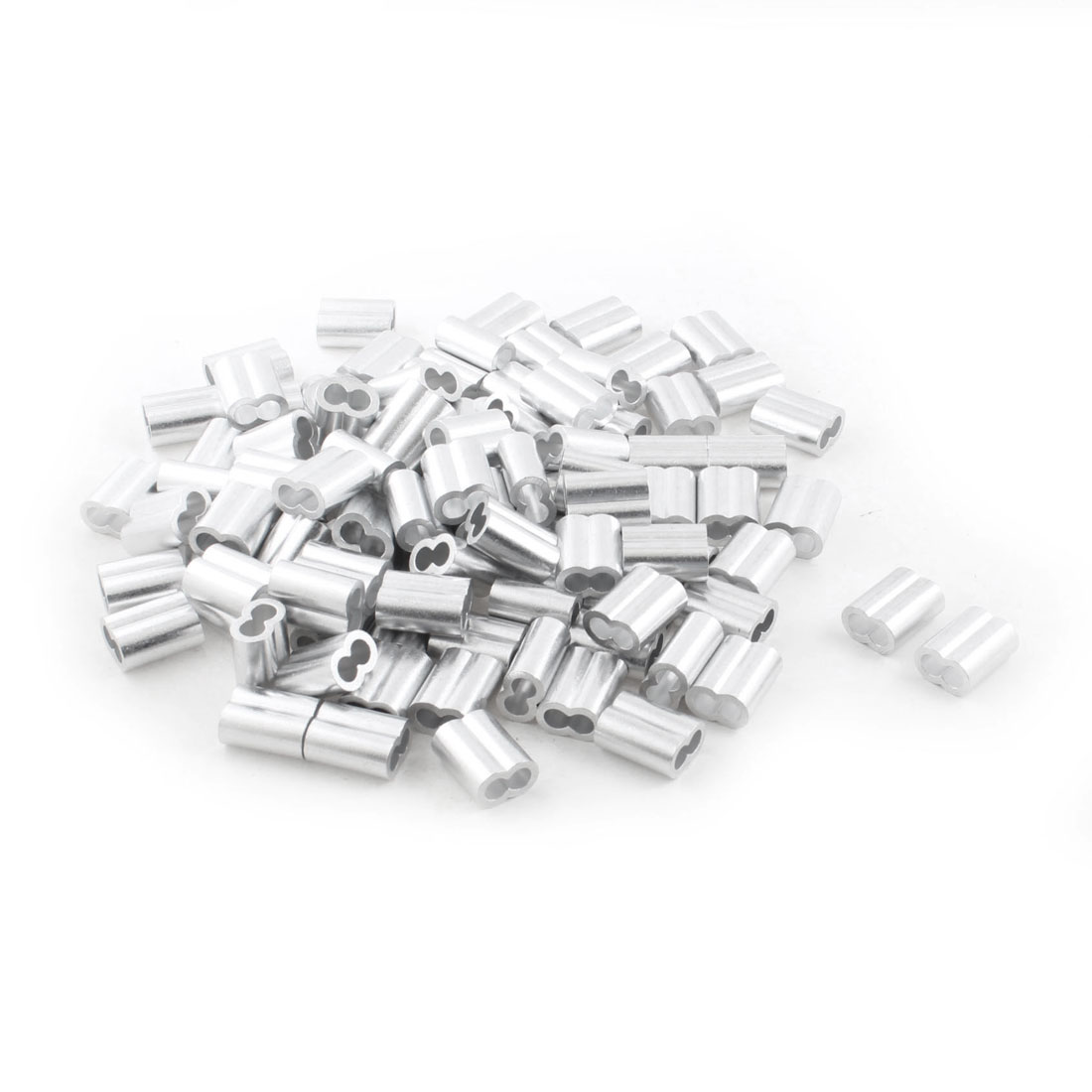 100Pcs Silver Tone Aluminum Ferrules Sleeves for 8mm Steel Wire Rope