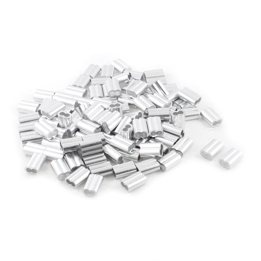 100Pcs Silver Tone Aluminum Ferrules Sleeves for 6mm Steel Wire Rope