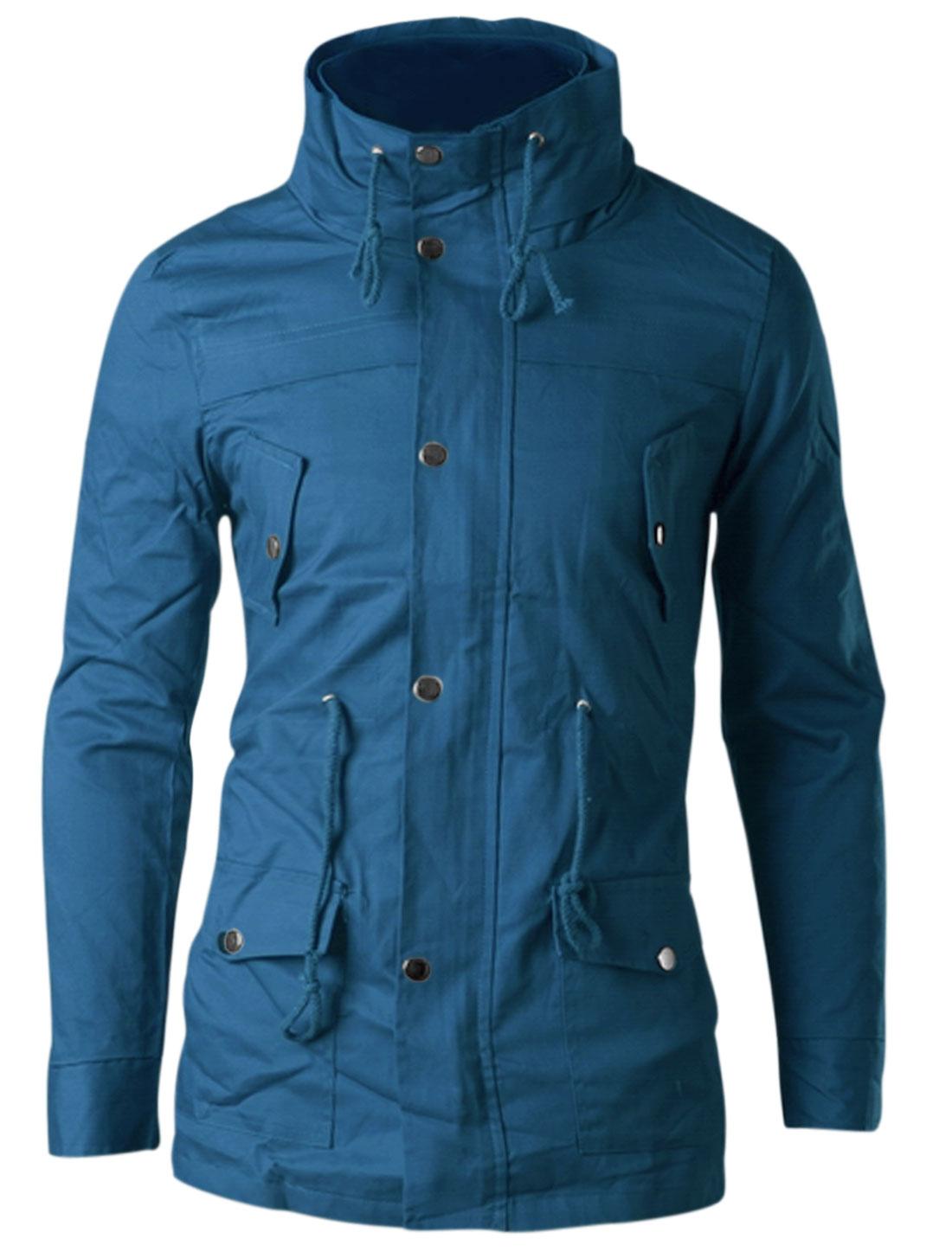 Man Blue Zipper Front Drawstring Waist Button Down Casual Jacket M