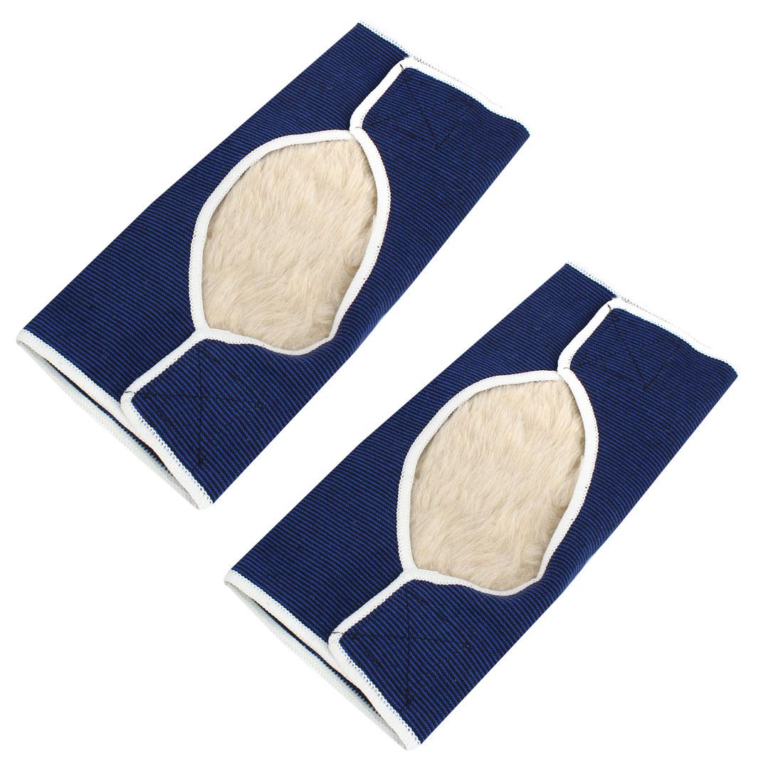 Sports Fleece Padded Elastic Hook Loop Knee Support Brace Blue Black Pair