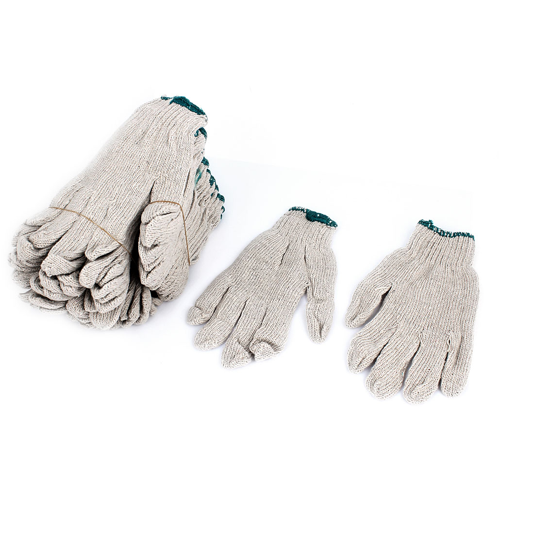 12 Pairs White Nylon Full Finger Elastic Cuff Working Gloves Protector for Workers
