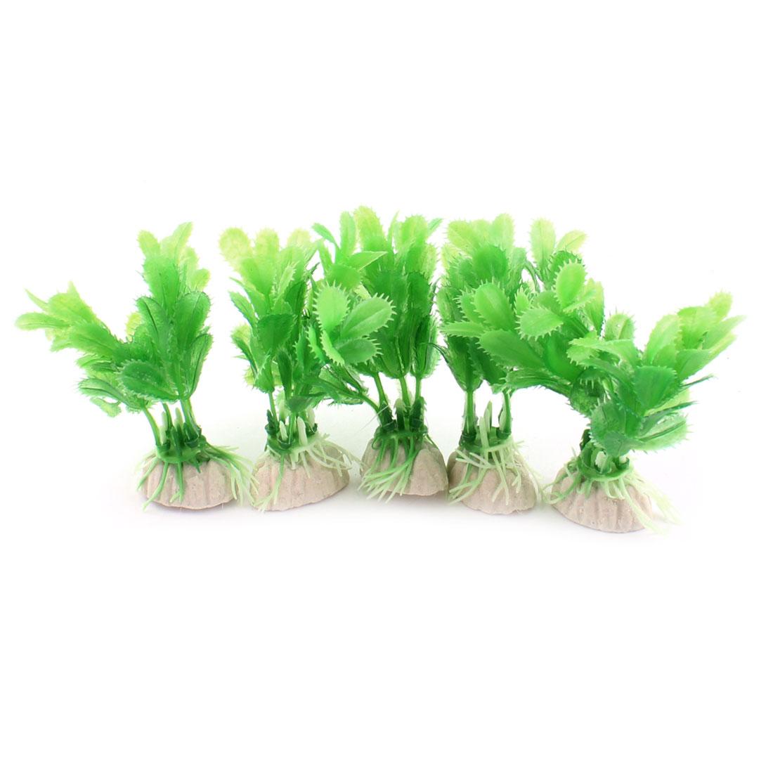 """5 Pcs Aquarium Underwater Landscaping Plastic Artificial Plant Decor Green 3.5"""" Height"""