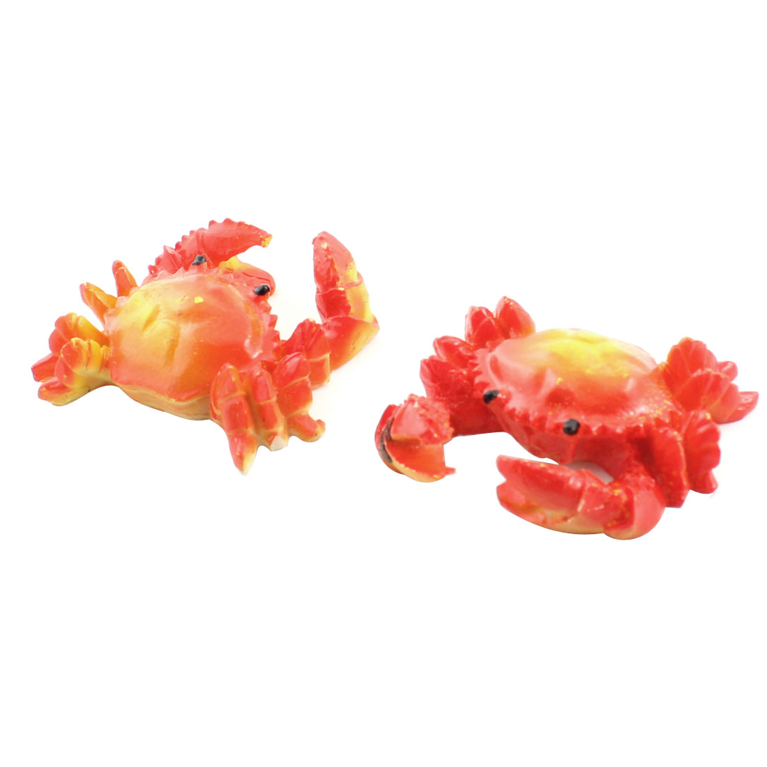 Aquarium Fish Tank Decoration Ceramic Emulational Crab Orange Red 2 Pcs