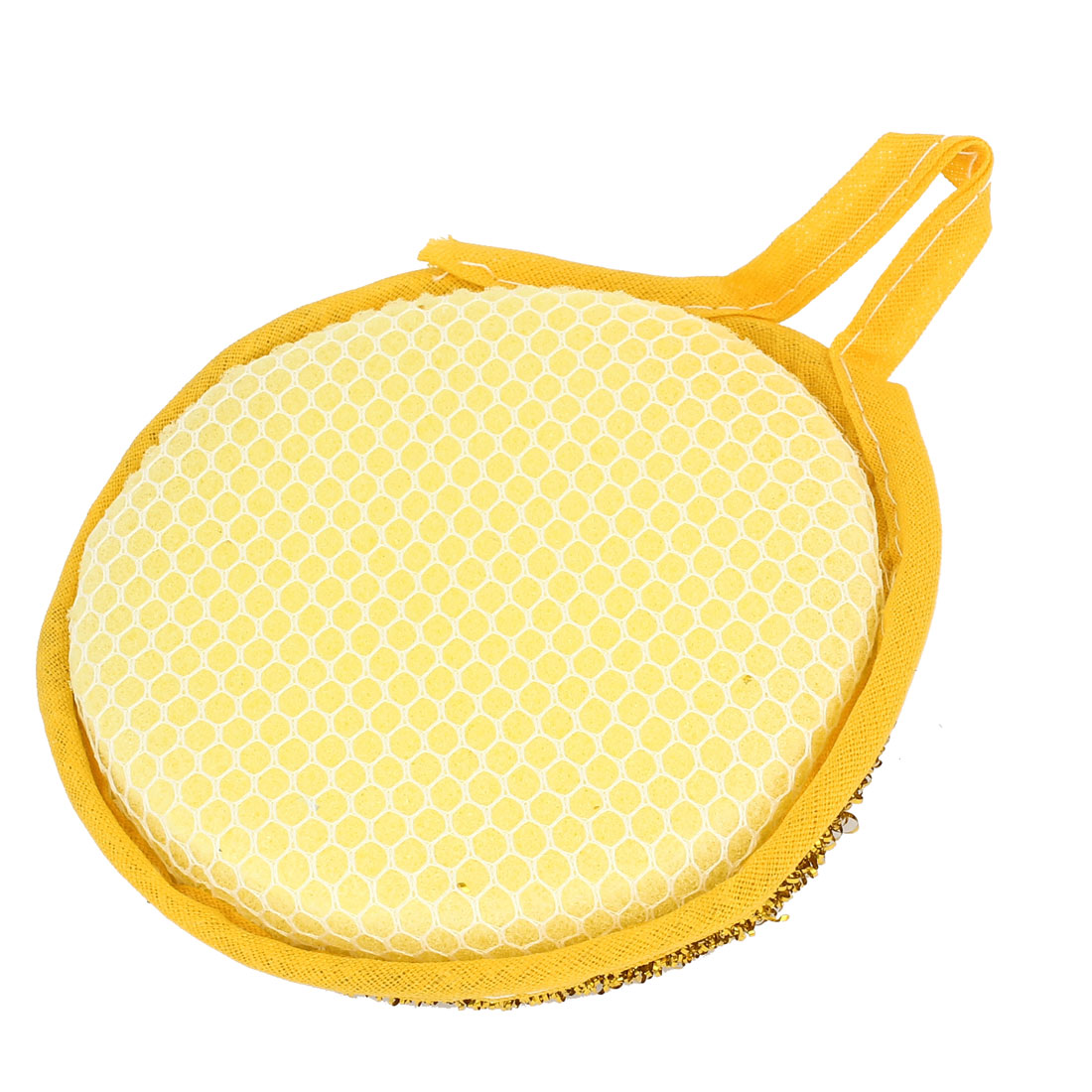 Yellow Gold Tone Sponge Bowl Dish Scrubber Cleaning Pad for Kitchen