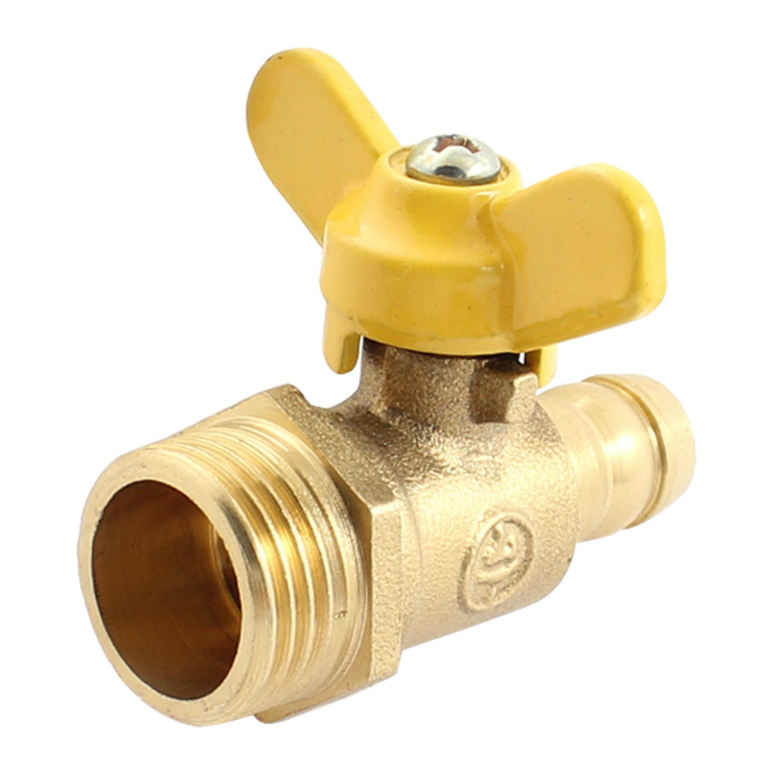 T Handle 1/2PT to 12mm Dia Right Angle Rotary Yellow Handle Air Gas Flow Control Ball Valve