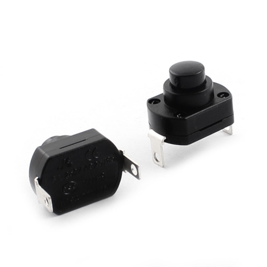 2 Pcs AC 250V 6A SPST Self-locking Flashlight Torch Push Button Switch Black 17mm x 13mm