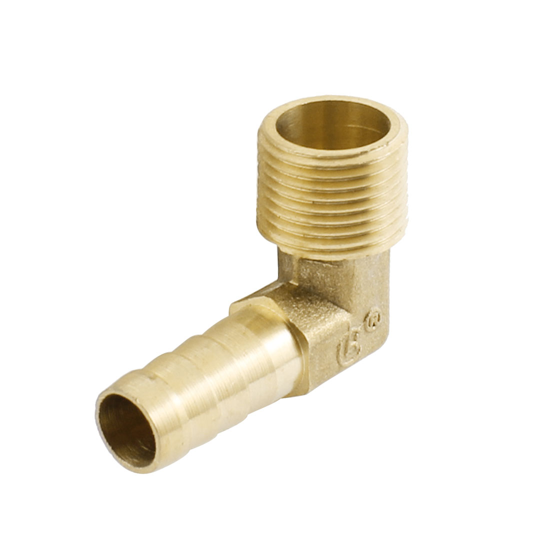 3/8PT x 10mm Right Angle Brass Air Pneumatic Tube Hose Barb Coupler Fitting Pipe Connector