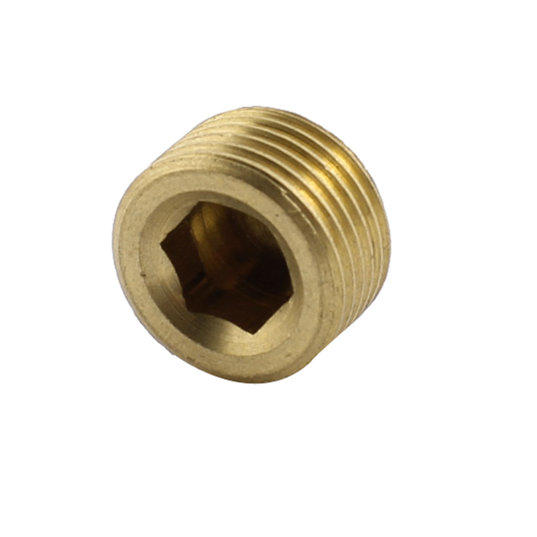 3/8PT Male Thread 9mm Height Brass Internal Hex Socket Head Pipe Plug Connector Coupler Adaper