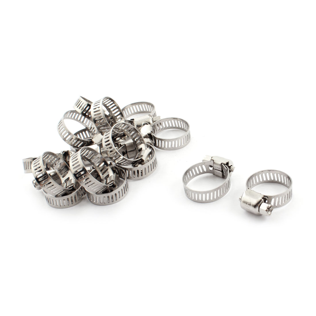 15 PCS 8mm Width 13-19mm Adjustable Metal Drive Pipe Tube Worm Gear Hose Clamps Clips