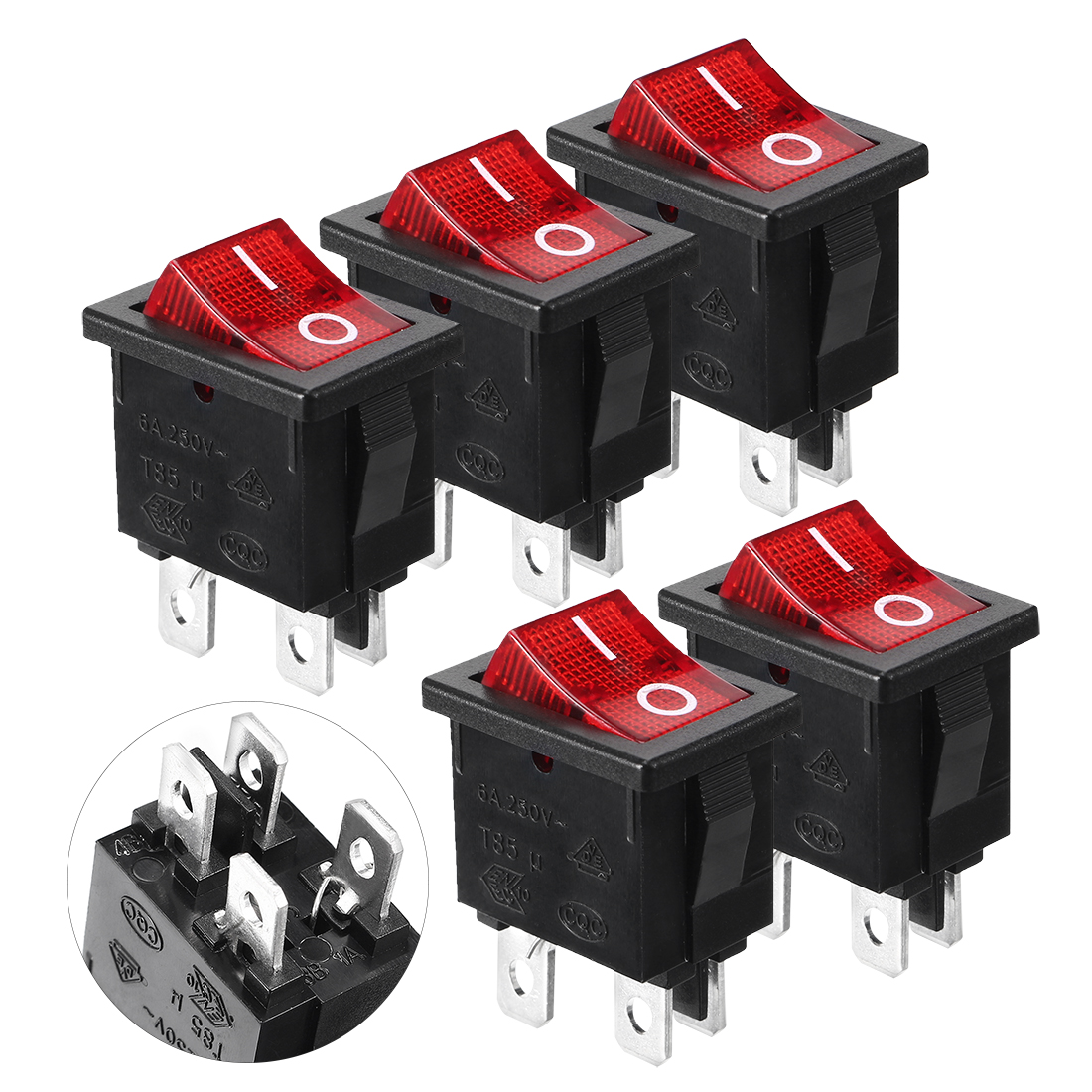 5pcs AC 110-120V Red Indicator Light ON/OFF 2Position 4Pins Snap in Boat Rocker Switches