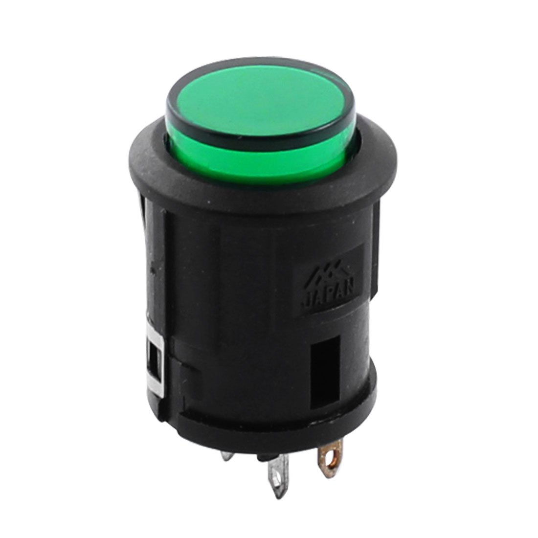 DC 12V Green Indicator Light Lamp 4Pin 16mm Mounting Snap In Black SPST Momentary Push Button Switch