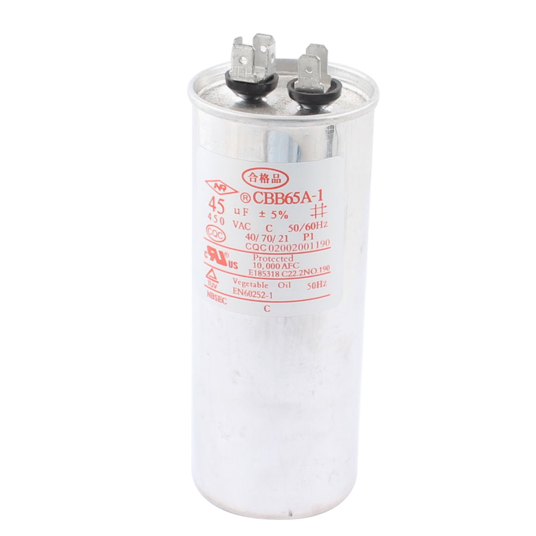 CBB65 AC 450V 45uF 5% Tolerance Cylinder Shaped Metal Housing Polypropylene Film Air Conditioner Compressor Motor Running Capacitor