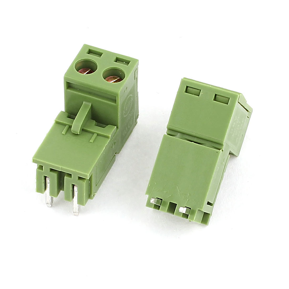 2 Pcs Green 2 Poles 5.08mm Pluggable Screw Terminal Block Right Angle Connector 300V 10A